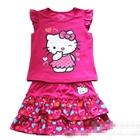 ชุดเสื้อและกระโปรงHello-Kittyสีบานเย็น(5-ตัว/pack)