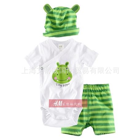 ชุดเสื้อและกางเกงTiny Hippo สีเขียว (4 ตัว/pack)