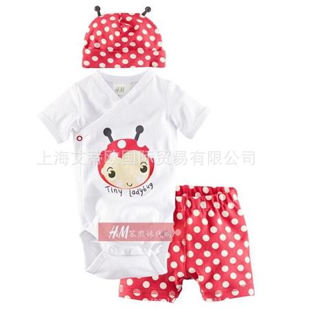 ชุดเสื้อและกางเกงTinyLadybug สีแดง (4 ตัว/pack)