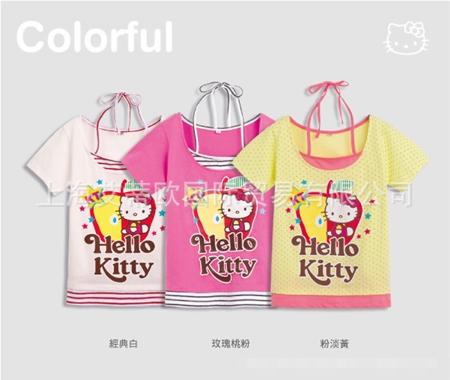 เสื้อแขนสั้น Hello Kitty สีชมพู (5ตัว/pack)