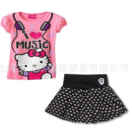 ชุดเสื้อและกระโปรง Hello Kitty สีชมพู (5 ตัว/pack)