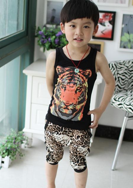 ชุดเสื้อกล้ามและกางเกงเสือดาว สีดำ (5 ตัว/pack)