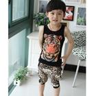 ชุดเสื้อกล้ามและกางเกงเสือดาว-สีดำ-(5-ตัว/pack)