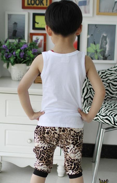 ชุดเสื้อกล้ามและกางเกงเสือดาว สีขาว (5 ตัว/pack)