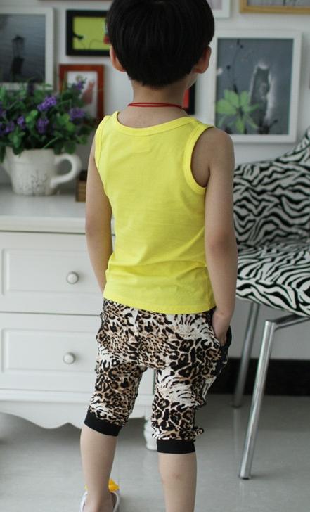 ชุดเสื้อกล้ามและกางเกงเสือดาว สีเหลือง(5 ตัว/pack)