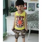 ชุดเสื้อกล้ามและกางเกงเสือดาว-สีเหลือง(5-ตัว/pack)