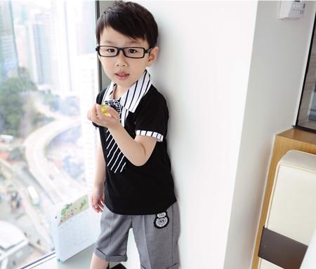 ชุดเสื้อและกางเกงนักเรียนนอก สีดำเทา (5 ตัว/pack)