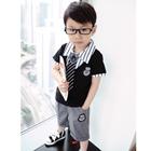 ชุดเสื้อและกางเกงนักเรียนนอก-สีดำเทา-(5-ตัว/pack)