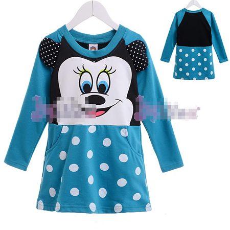 เดรส Minnie Mouse โทนสีฟ้า (5 size/pack)