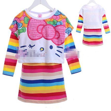 เดรส Hello Kitty สายรุ้ง สไตล์ A(5 size/pack)