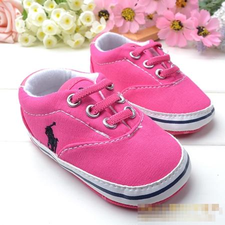 รองเท้าผ้าใบเด็ก POLO สีชมพู (6 คู่/pack)