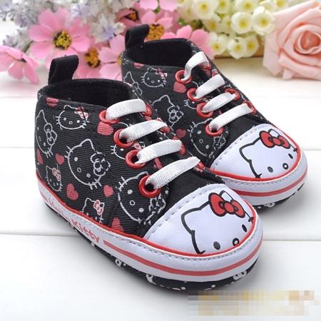 รองเท้าผ้าใบเด็ก Hello Kitty สีดำ (6 คู่/pack)