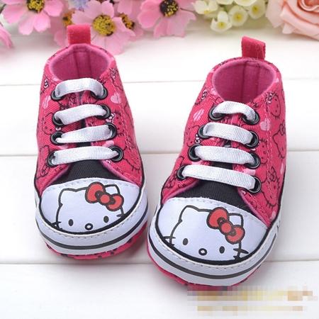 รองเท้าผ้าใบเด็ก Hello Kitty สีชมพู (6 คู่/pack)