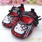 รองเท้าเด็กลายตาราง-Hello-Kitty-สีแดง-(6-คู่/pack)