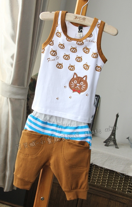 ชุดเสื้อและกางเกงแมวเหมียว สีเหลือง (5 ตัว/pack)