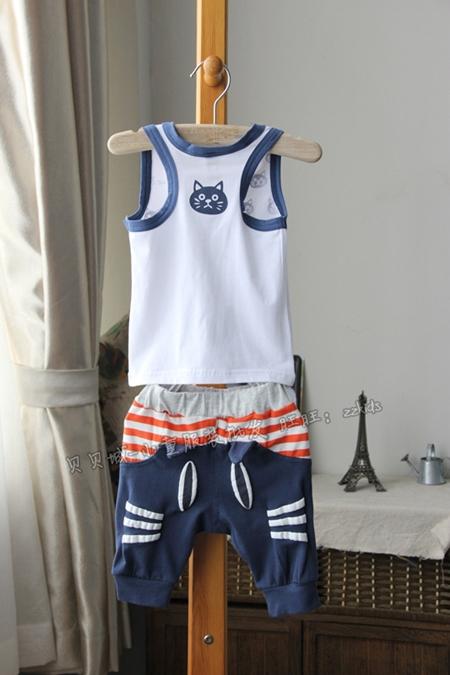 ชุดเสื้อและกางเกงแมวเหมียว สีฟ้า (5 ตัว/pack)