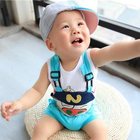 ชุดเสื้อและกางเกงหมูใส่หมวก สีฟ้า (5 ตัว/pack)