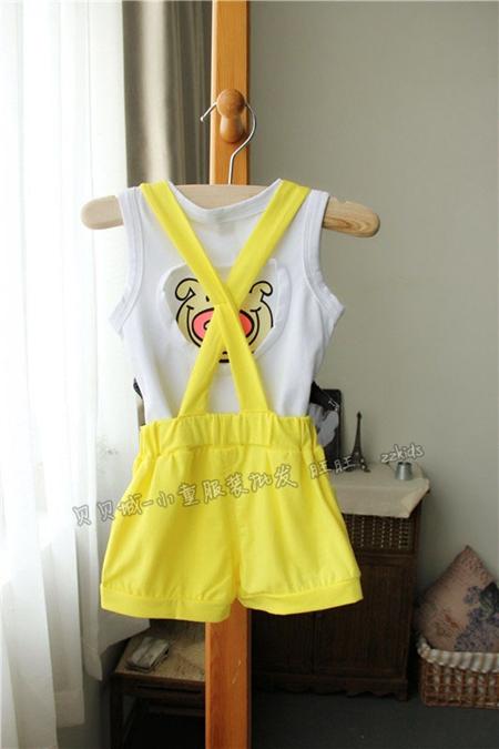 ชุดเสื้อและกางเกงหมูใส่หมวก สีเหลือง (5 ตัว/pack)