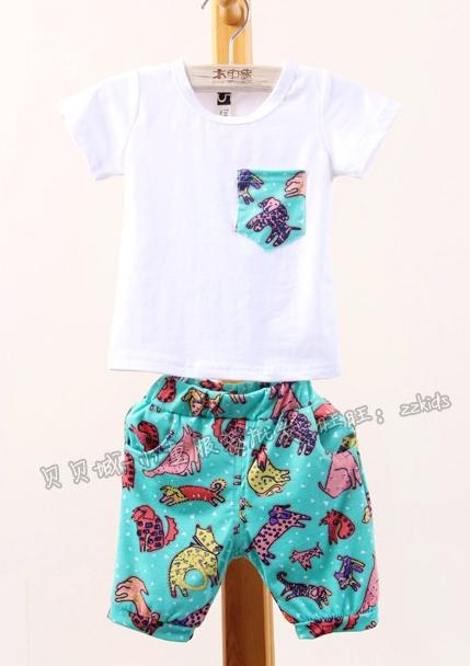 ชุดเสื้อและกางเกงไดโนเสาร์ สีฟ้า (5 ตัว/pack)