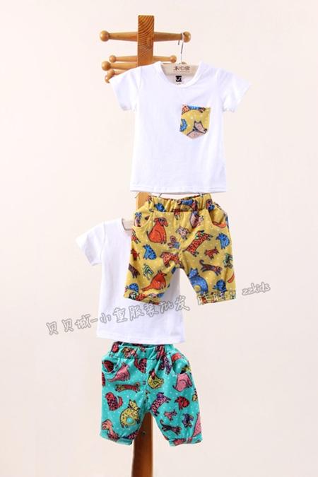 ชุดเสื้อและกางเกงไดโนเสาร์ สีเหลือง (5 ตัว/pack)