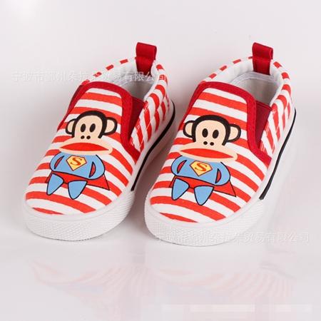 รองเท้าเด็ก Paul Frank ลายขวางสีแดง (5 คู่/แพ็ค)