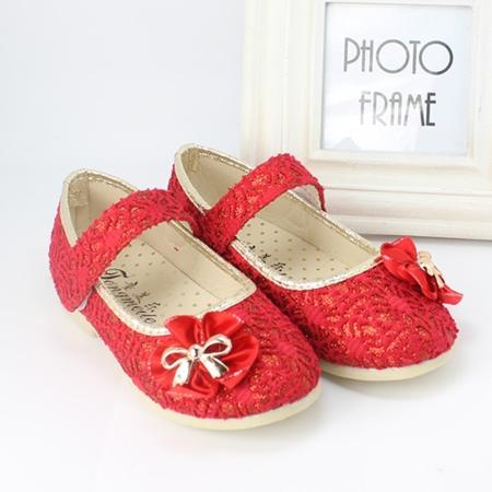 รองเท้าโบว์ดอกไม้ สีแดง ไซส์ 21-25 (5 คู่/แพ็ค)