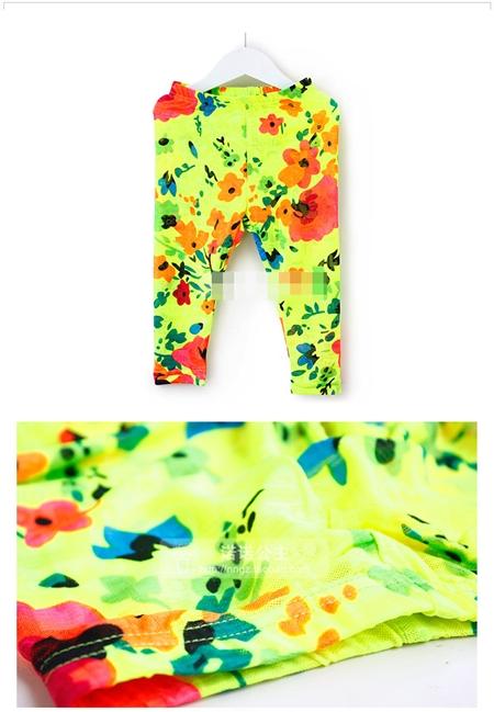 กางเกงเลกกิ้งขายาวลายดอกไม้ สีเหลือง (5 ตัว /pack)