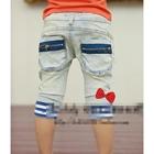 กางเกงยีนส์ขาสามส่วน-ขอบลายขวางสีฟ้า-(5-ตัว/pack)
