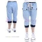 กางเกงสามส่วนลายทางกระเป๋าหน้าสีฟ้า--(5size/pack)