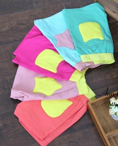 กางเกงขาสั้น กระเป๋าดาว สีเขียว (5 ตัว/pack)