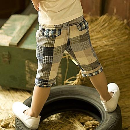 กางเกงขาสามส่วนลายตาราง สีฟ้า (5 ตัว/pack)