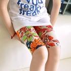 กางเกงเลกกิ้งขาสั้นลายดอกไม้-สีส้ม-(5-ตัว-/pack)