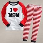 ชุดเสื้อและกางเกง-I-love-mom-สีแดง-(5-ตัว/pack)