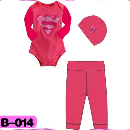 บอดี้สูท Superman สีชมพู (4  ตัว/pack)