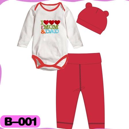 บอดี้สูท I love mom dad สีขาวแดง (4  ตัว/pack)