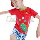 เสื้อยืดแขนสั้นไดโนเสาร์-สีแดง-(5size/pack)