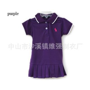 ชุดเดรสโปโล polo Sport Girl สีม่วง(5 ตัว/pack)