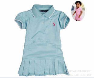 ชุดเดรสโปโล polo Sport Girl สีฟ้าอ่อน(5 ตัว/pack)