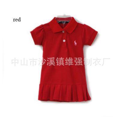 ชุดเดรสโปโล polo Sport Girl สีแดง(5 ตัว/pack)