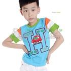 เสื้อยืดแขนสั้น-Happy-Smile-สีฟ้า-(5size/pack)