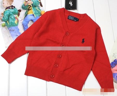 คาร์ดิแกนเด็กแขนยาว POLO สีแดง (5 ตัว/pack)