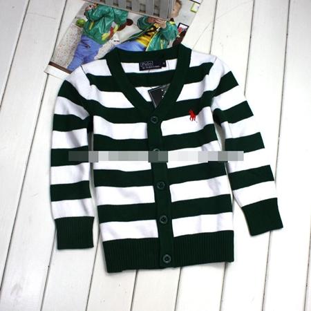 คาร์ดิแกนเด็กลายขวาง POLO สีเขียวขาว (5 ตัว/pack)