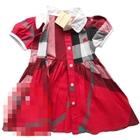 เดรสแขนตุ๊กตา-Burberry-สีแดง(5-ตัว/pack)