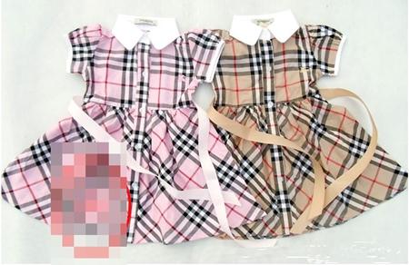 เดรสแขนตุ๊กตา Burberry สีชมพู (5 ตัว/pack)