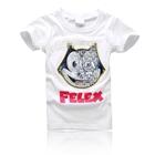 เสื้อยืดแขนสั้นลายแมว-Felex-สีขาว-(5-ตัว/pack)