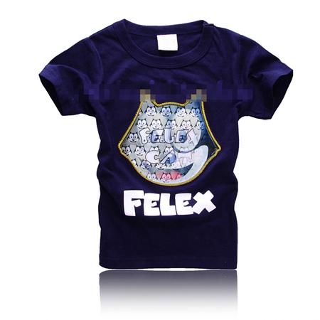 เสื้อยืดแขนสั้นลายแมว Felex สีน้ำเงิน (5 ตัว/pack)