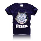 เสื้อยืดแขนสั้นลายแมว-Felex-สีน้ำเงิน-(5-ตัว/pack)