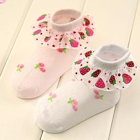 ถุงเท้าเด็ก Strawberry คละสี (20 คู่ /pack)