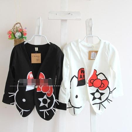 เสื้อคลุมเด็กแขนยาว Hello Kitty สีดำ (5 ตัว/pack)