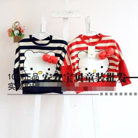 เสื้อแขนยาวลายขวาง Hello Kitty สีกรม (5 ตัว/pack)